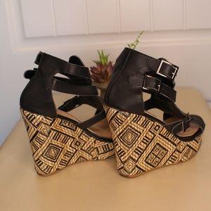 Torrid Black/Brown Buckle Wedge Heels